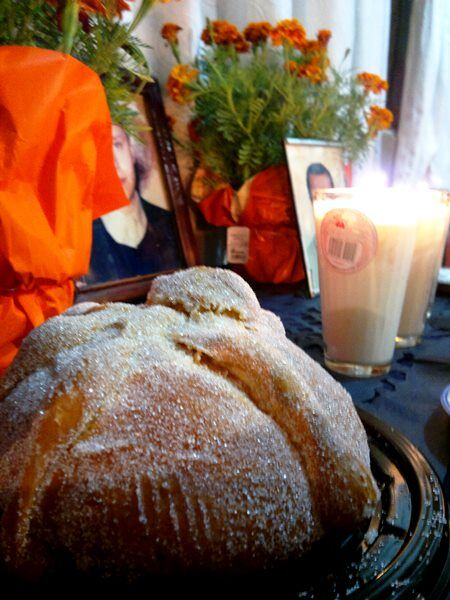 Pan de Muerto on an altar