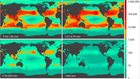 Densidad de los plásticos a nivel mundial para cada una de las cuatro clases de tamaño (de 0,33 a 1,00 mm, de 1,01 a 4,75 mm, de 4,76 a 200 mm, y >200 mm). Fuente: Plastic Pollution in the World's Oceans