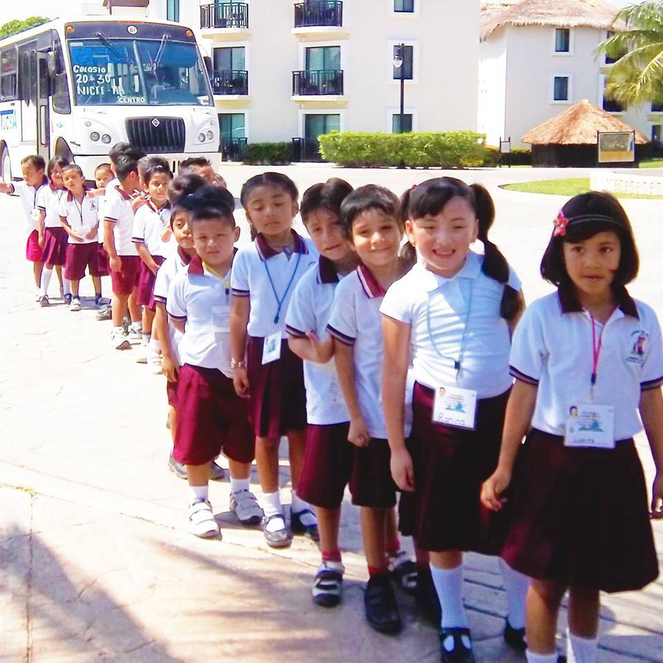 queue of school children