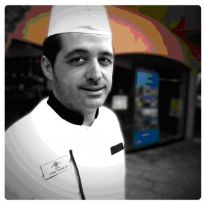 Chef outside of restaurant