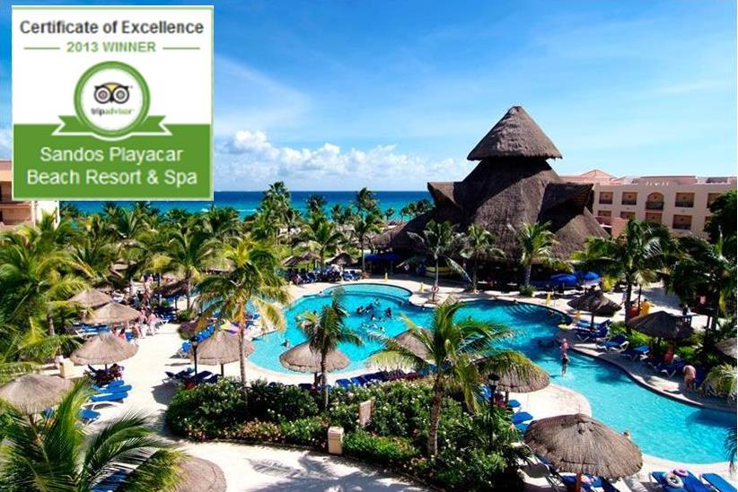 Certificate of excellence for Sandos Playacar