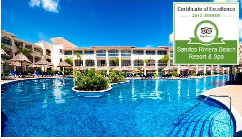 Certificate of excellence for Sandos Riviera Maya
