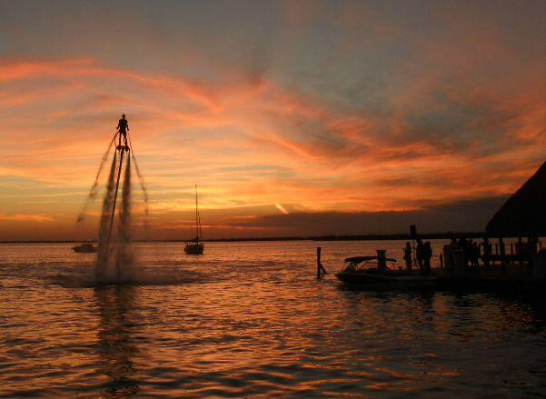 Flyboarding at sunset in Cancun