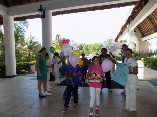 Kids visiting resort