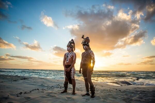 Sandos Caracol Mayan warriors on the beach