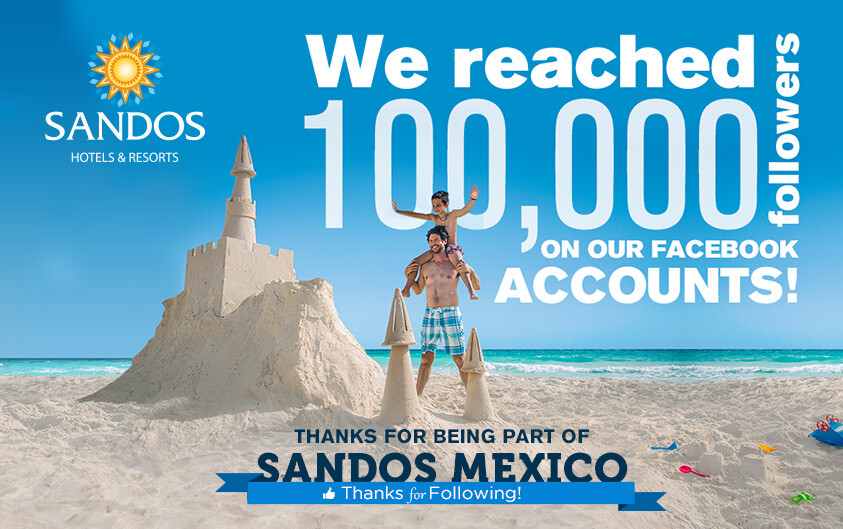 Sandos Mexico all inclusive resort Facebook followers