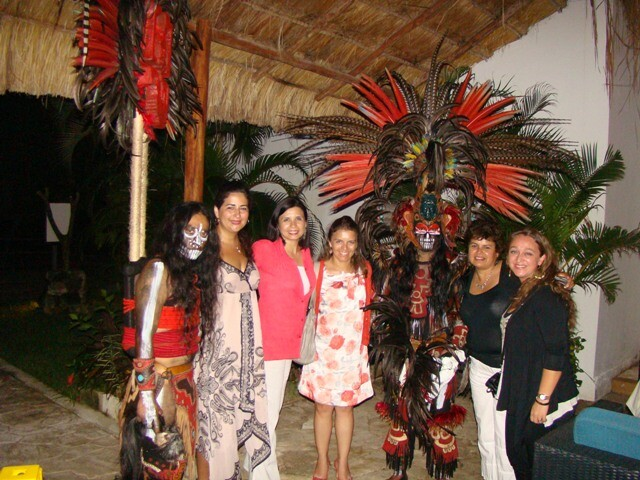 Lobby with Mayan warriors