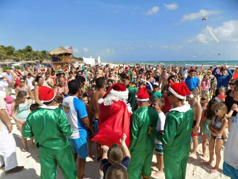 Santa Claus on the beach Riviera Maya