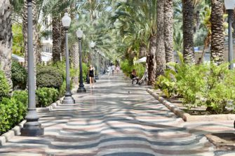 The Esplanade of Spain, in Alicante, route by car to the Costa Blanca
