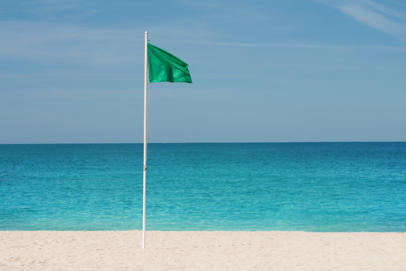 what does a green flag at the beach mean